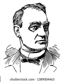 John G. Carlisle, 1834-1910, he was an American politician, the speaker of the U.S. house of representatives from 1883 to 1889, and secretary of the Treasury from 1893 to 1897, vintage line drawing