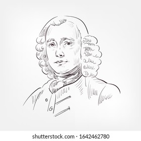 John Harrison English carpenter and inventor vector sketch portrait isolated