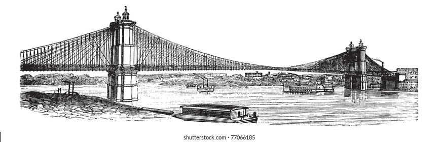 John A Roebling Suspension Bridge, from Cincinnati, Ohio to Covington, Kentucky, USA, during the 1890s, vintage engraving. Old engraved illustration of the John A. Roebling Suspension Bridge, Trousset