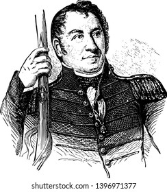 John Stricker 1758 to 1825 he was a Maryland state militia officer who fought in the American revolutionary war vintage line drawing or engraving illustration