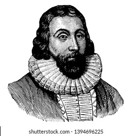 John Winthrop 1587 to 1649 he was an English puritan lawyer and third governor of the Massachusetts bay colony vintage line drawing or engraving illustration