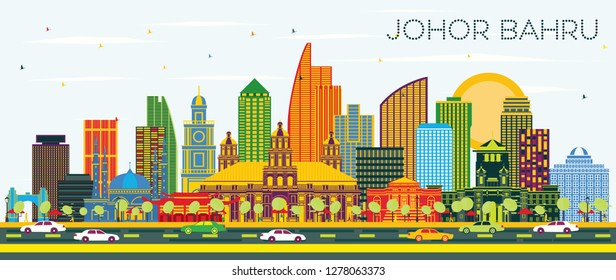 Johor Bahru Malaysia City Skyline with Color Buildings and Blue Sky. Vector Illustration. Business Travel and Tourism Illustration with Modern Architecture. Johor Bahru Cityscape with Landmarks.