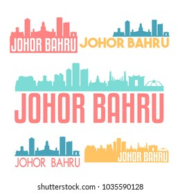 Johor Bahru Malaysia Flat Icon Skyline Vector Silhouette Design Set