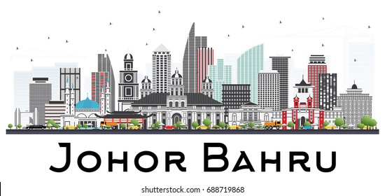 Johor Bahru Malaysia Skyline with Gray Buildings Isolated on White Background. Vector Illustration. Business Travel and Tourism Illustration with Modern Architecture. Image for Presentation Banner
