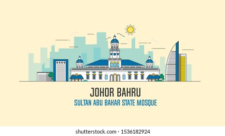 Johor Bahru Sultan Abu Bakar State Mosque in Malaysia