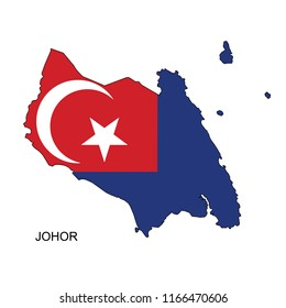 Johor Flag Over Map Vector