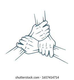 Join hands together. Three hands holding each other isolated on white background. Teamwork concept hand drawing vector illustration. Part of set.