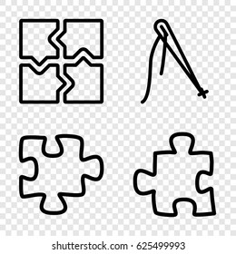 Join icons set. set of 4 join outline icons such as puzzle