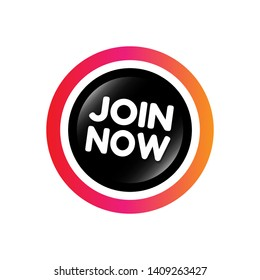 join now button with glossy effect.