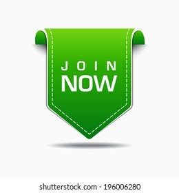 Join Now Green Label Icon Vector Design