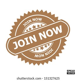 Join now rubber stamp sign.-eps10 vector