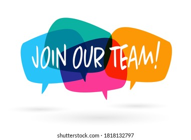 Join our team banner on speach bubble