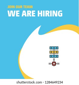 Join Our Team. Busienss Company Networks setting  We Are Hiring Poster Callout Design. Vector background
