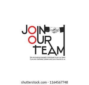 Join our team concept design with shaking hands. Vector illustration hand drawing style