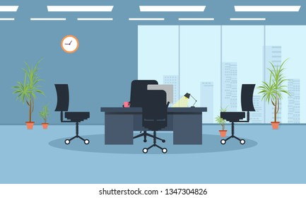 Table With Office Background Stock Vectors Images Vector Art