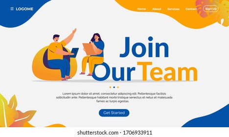 join our team landing page concept for recruitment process