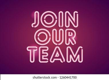 Join our team neon employment sign