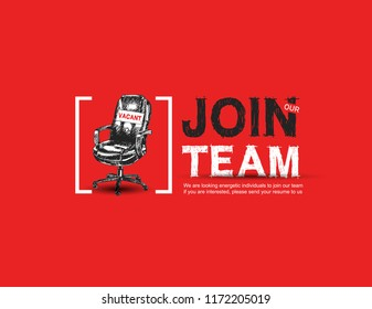 Join our team with sign vacant office chair red background. Business recruiting concept with hand drawing style