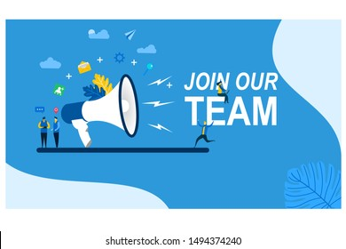 Join our team with Tiny People Character Concept Vector Illustration, Suitable For web landing page,Wallpaper, Background, Card, banner,Book Illustration