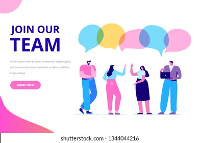 Join our team vector illustration concept. People together, teamwork. Flat style  illustration for web.