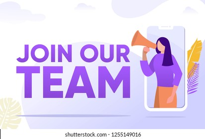 join our team word vector illustration concept, people shouting on megaphone   can use for, landing page, template, ui, web, mobile app, poster, banner, flyer, background