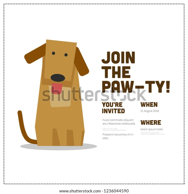 Join Pawty Time Party Invitation Design Stock Vector Royalty Free