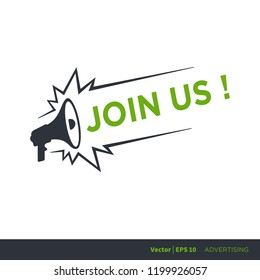 join us - advertising sign with megaphone