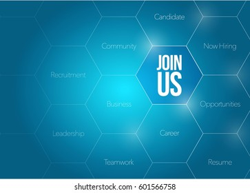 Join Us business diagram illustration design graphic over a blue background