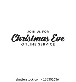 Join Us For Christmas Online Service Online, Church Invitation, Holiday Invitation, Christmas Service Vector Text Illustration Background
