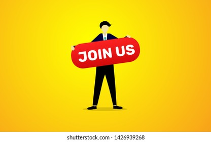 Join us concept text vector illustration, man worker holding red board with join us text in flat style design vector illustration
