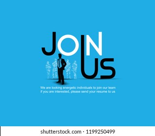Join us design with chosen businessman silhouette blue background hand drawing style