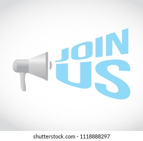 join us megaphone message vector illustration. isolated over a white background