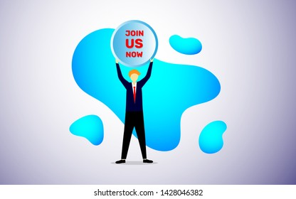Join us now concept vector illustration, man worker rising join us now button board in modern flat style design vector illustration