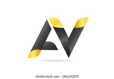 joined or connected AV A V yellow black alphabet letter logo combination suitable as an icon design for a company or business