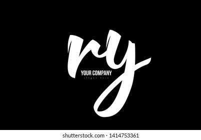 joined ry r y alphabet letter in black and white colors suitable as a logo icon design for a company or business