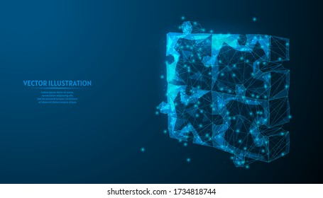 Joined together puzzles close-up. Concept symbol of problem solving, communication, business of the time, team work, cooperation, education. 3d low poly wireframe model isolated vector illustration.