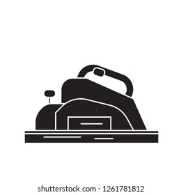 Joinery machine black vector concept icon. Joinery machine flat illustration, sign