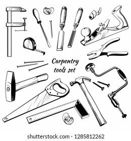 Сarpentry and joinery vector tools set.