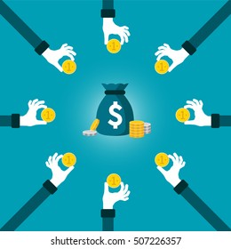 Joint investment fund vector concept in flat style