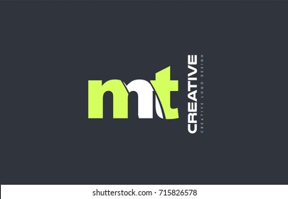joint joined letter combination  mt m t alphabet green blue blackground technology media logo icon design company