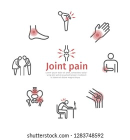 Joint pain banner. Icons set. Vector signs for web graphics.