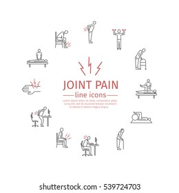 Joint pain. Line icons set. Vector signs for web graphics.