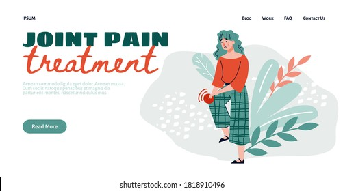 Joint pain treatment web banner template with cartoon character of woman having pain in knee joint, flat vector illustration. Sickness of human musculoskeletal system.