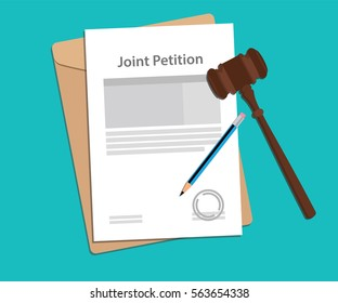 joint petition concept illustration with paperworks, pen and a judge hammer