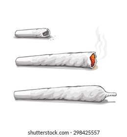 joint or spliff. Drug consumption,  marijuana and smoking drugs. Vector