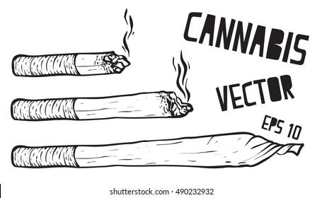 joint or spliff. Drug consumption, marijuana Vector