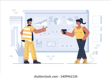 Joint startup of colleagues vector illustration. Man making presentation with graphs charts and diagrams of new project and woman suggesting coffee to co-worker flat style concept