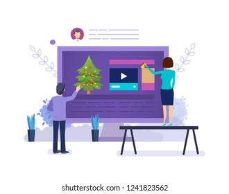 Joint teamwork with colleagues, partners, on eve of Merry Christmas, new year. Work before the holiday of new year, summarizing the business plan of job, marketing research. Vector illustration.