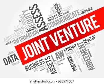 Joint Venture word cloud collage, business concept background