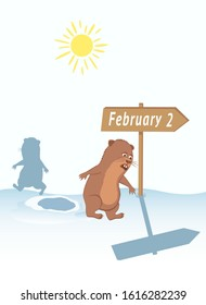 Joke about escaping groundhog shadow on February 2. Woodchuck near his burrow. Pointer with text, arrow. Sun in the sky. Vector illustration for Groundhog Day.